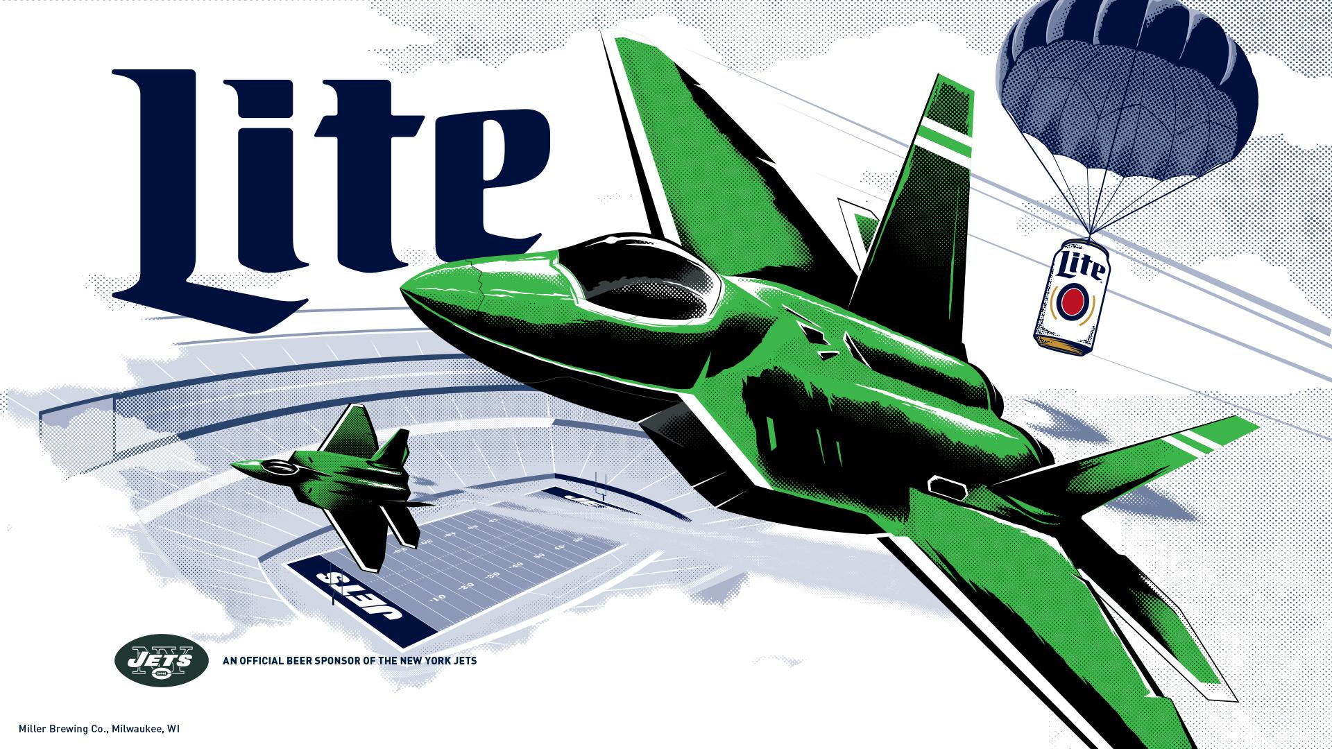 Jets Wallpaper Miller Lite