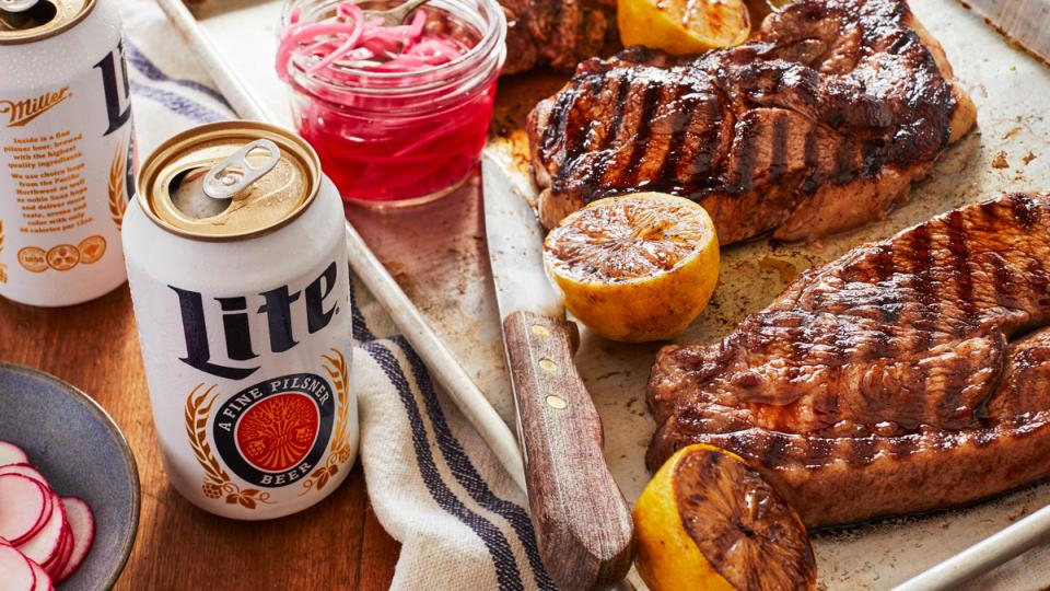 Beer-Brined Pork Steaks with Miller Lite Whole-Grain Mustard