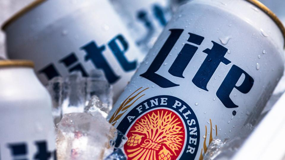 Miller Lite cans on ice